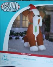 HUGE 9 FT PUPPY DOG W SANTA HAT CHRISTMAS LIGHTED AIRBLOWN INFLATABLE YARD DECOR