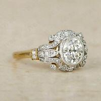 2.20Ct Round Diamond Vintage Antique Art Deco Engagement Ring 14K Gold Finish