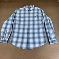 Eddie Bauer Men's Size Medium Classic Fit Blue Plaid Long Sleeve Button Up Shirt