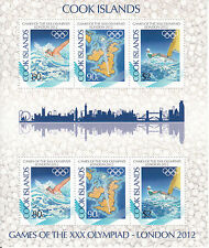 Cook Islands 2012 MNH London Olympics 6v M/S Olympic Games Swimming Sailing