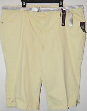 Gloria Vanderbilt Women Plus Yellow Lexi Slimming Skimmer Pants With Belt Sz 24W
