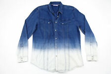 WILLIAM RAST DYED BLUE WHITE XL DENIM STYLE SNAP BUTTON FRONT SHIRT MENS NWT NEW