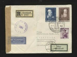Christkindl-Zensur-Flugpost-Recobrief 22.12.1951 LZ Wien nach Stockholm