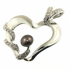 Black Pearl CZ Heart Pendant Sterling Silver Cubic Zirconia Freshwater Cultured