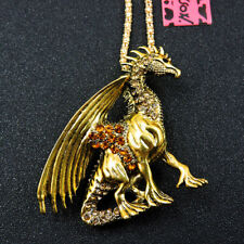 Betsey Johnson Bling Inlaid Crystal Gold Dragon Pendant Sweater Chain Necklace