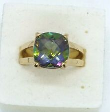 Vintage 9ct yellow gold Mystic Topaz ring with CoA. Size N.