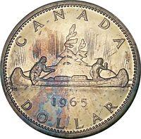 1965 CANADA 1 DOLLAR SILVER COLOR BU GOLDEN BLUE GEM TONED UNC (DR)