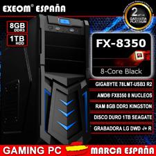 Ordenador Gaming Pc AMD FX8350 Black OCTA CORE 8GB RAM 1TB HDD De Sobremesa