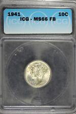New listing 1941 - Icg Ms66 Fb Mercury Dime! #B21574