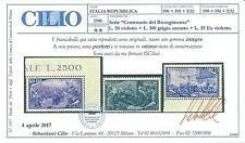 Repubblica 1948 Risorgimento serie compl. 13 valori MNH ** + certificato Cilio