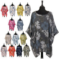 Italian Ladies Lagenlook Cotton Floral Print Top Womens Boho Pocket Tunic Dress