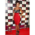 Womens Red Lace Bodycon Cocktail Party Evening Formal Ladies Midi Dress
