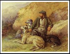 Scottish Gamekeeper And Deerhound Dogs Lovely Vintage Image Dog Print Poster