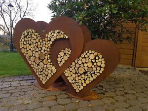 2 x Herzen groß aus Metall - Set - Holz-Regal - Edel-Rost - Garten - Deko -