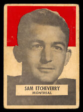1959 GENERAL Mills Wheaties CFL Football Sam Etcheverry VG Montreal Alouettes