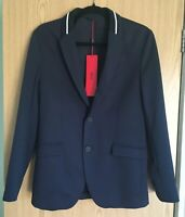 Hugo Boss Men's Regular Fit Tailored Blazer Jacket Knitted Collar Stripe 2019