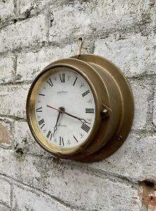 Vintage West German Brass Porthole Clock Wall Mirror Ship Maritime Nautical