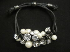 Faux Pearl and Rhinestone Dangle Bracelet ~ Adjustable Fit