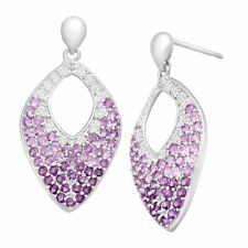 1 ct Natural Amethyst & White Topaz Marquis Drop Earrings in Sterling Silver