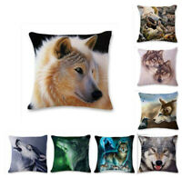Linen Cover Cartoon Case Wolf Throw 3D Car Cushion Pillow Cotton Decor Home Sofa
