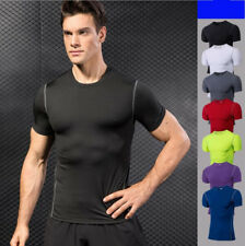 Men Running Sports Training Slim Fit Tights Tops Tees Gym Compression T-shirts