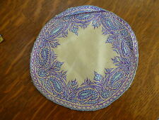 2 VINTAGE Hand Embroidery raw silk Doilies Table drink Mats round home decor