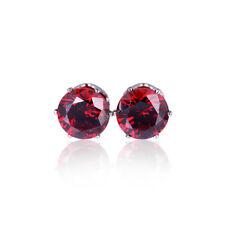 Emerald Garnet White Pink Topaz  Gemstone 18K White Gold Filled Stud Earrings