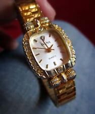 Ivana wristwatch Crystal Encrusted Goldtone Ladies Watch DEAD BATTERY 30 DAY WAR
