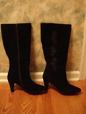 Laura Ashley Black Suede Leather Hadley Heel Zipper Dress Knee High Boots 8.5M