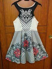 Vestito - abito Ginger Fizz by ASOS, taglia 8 / S bianco nero fiori provenzale