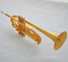 Concert Professional Satin Gold Trumpet Bb Heavy Horn Amado Water key With Case