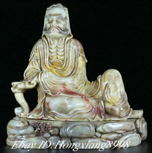 "7.4"" Old China Natural Shoushan Stone Painting Rohan lohan Arhat Buddha Statue"