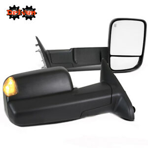 Powered Heat LED Towing Extended Flip Up Side Mirrors 13-15 Dodge Ram 1500 2500