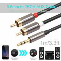 Audio Kabel 3,5mm Klinke Stecker to 2x Cinch - RCA Jack Stecker AUX 1m Alu