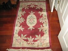 "Area Carpet , Aubusson Chinese Wool , 54"" X 30"" , Multi Color , Pre Owned"