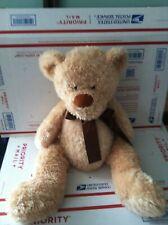 "Plush Cream Teddy Bear Plush  Stuffed Animal Brown Ribbon 22"""