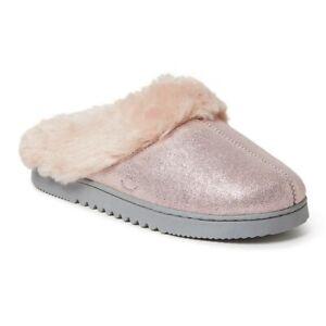Dearfoams Pink Shimmer Genuine Suede Slip-On Scuffette Slippers - Women's 8