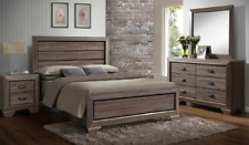 NEW Gray/Light Brown Queen or King 4PC Bedroom Set Modern Furniture Bed/D/M/N