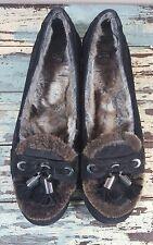 Stuart Weitzman womens moccasins fur lined black suede tassle 9.5 N Narrow