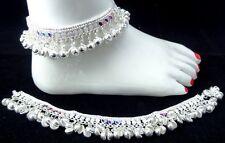 2pcs SilverTone Bollywood Bridal Lehnga SariSuit Noise Bell Anklet Payal Jewelry