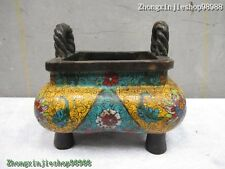 Chinese Sign Purple Bronze handwork Cloisonne square Incense Burner