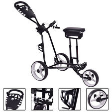 Foldable 3 Wheel Push Pull Golf  Club Cart Trolley w/Stool Scoreboard Swivel