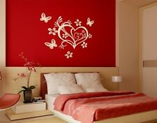 Floral Valentine Heart with Butterflies - highest quality wall decal sticker