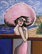 PINK ORIGINAL PAINTING WOMAN HAT LADY HAT OCEAN PALM TREES CUBISM ANTHONY FALBO