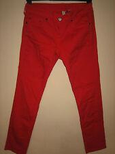 WW19) WOMENS MANGO RED STRAIGHT SKINNY LEG JEANS ZIP FLY WAIST 28  LEG 26