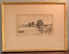Gabrielle De Veaux Clements Marsh Landscape Etching Antique 1883 21X16 Framed