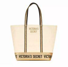 Victoria's Secret Gold Sparkle Tote Canvas Zippered Bag, New