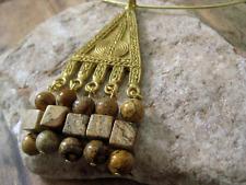 African Brass Pendant Choker Picture Jasper Tribal Necklace Handmade USA