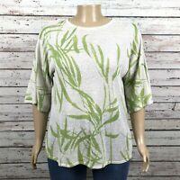 Chico's Bamboo Leaf Print Tunic Sweater Shirt 3 XL 16 Ivory Green Metallic Fleck
