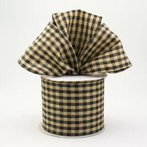 """Black Primitive Gingham Check 2.5""""Wire Ribbon Tea-Dye Country/Farmhouse*2 Lngths"""